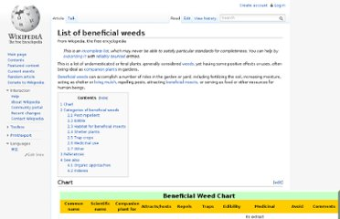 http://en.wikipedia.org/wiki/List_of_beneficial_weeds