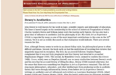 http://plato.stanford.edu/entries/dewey-aesthetics/#ArtExp