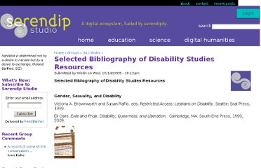http://serendip.brynmawr.edu/exchange/courses/gas/f09/disabilitystudiesbibliography