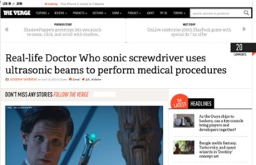 http://www.theverge.com/2012/4/19/2960242/dr-who-sonic-screwdriver-university-of-dundee