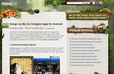 http://www.noupe.com/design/design-on-the-go-designer-apps-for-android.html