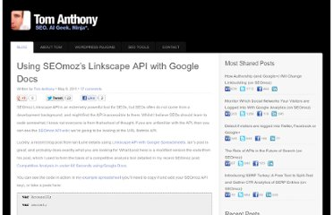 http://www.tomanthony.co.uk/blog/seomoz-linkscape-api-with-google-docs/