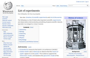 http://en.wikipedia.org/wiki/List_of_experiments