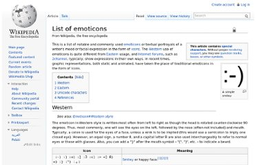 http://en.wikipedia.org/wiki/List_of_emoticons#Western