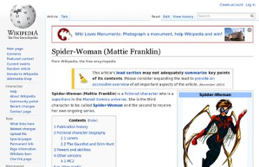 http://en.wikipedia.org/wiki/Spider-Woman_(Mattie_Franklin)