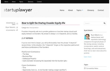 http://startuplawyer.com/incorporation/how-to-split-the-startup-founder-equity-pie