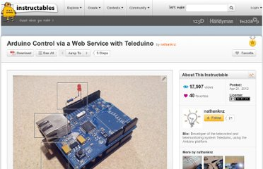 http://www.instructables.com/id/Arduino-Control-via-a-Web-Service-with-Teleduino/