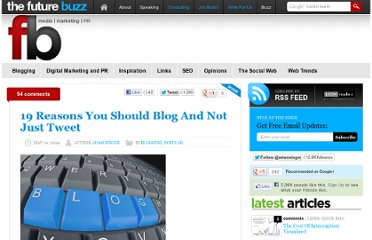 http://thefuturebuzz.com/2009/05/10/reasons-you-should-blog-and-not-just-tweet/