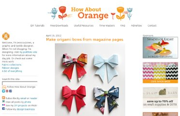 http://howaboutorange.blogspot.com/2012/04/make-origami-bows-from-magazine-pages.html