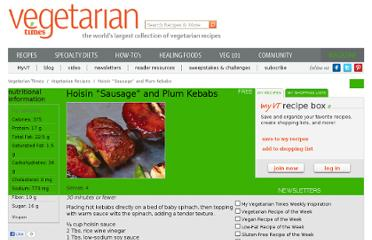 http://www.vegetariantimes.com/recipe/hoisin-sausage-and-plum-kebabs/