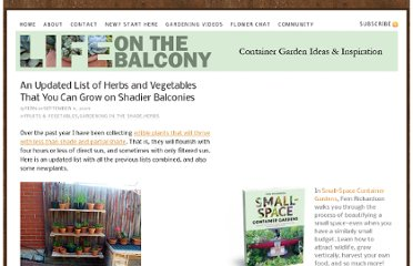 http://lifeonthebalcony.com/an-updated-list-of-herbs-and-vegetables-that-you-can-grow-on-shadier-balconies/