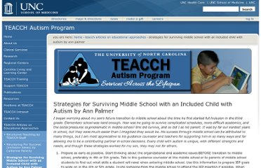 http://teacch.com/educational-approaches/strategies-for-surviving-middle-school-with-an-included-child-with-autism-ann-palmer