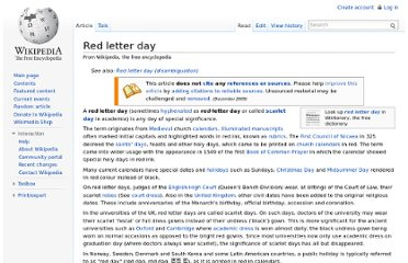 http://en.wikipedia.org/wiki/Red_letter_day