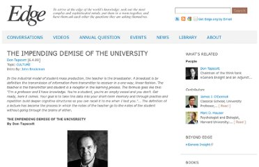 http://edge.org/conversation/the-impending-demise-of-the-university