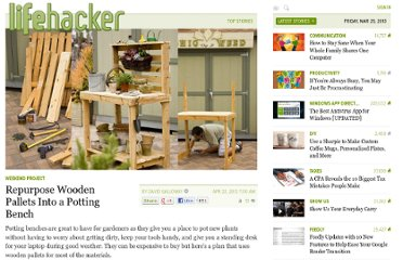 http://lifehacker.com/5904083/repurpose-wooden-pallets-into-a-potting-bench