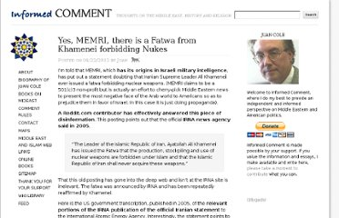 http://www.juancole.com/2012/04/yes-memri-there-is-a-fatwa-from-khamenei-forbidding-nukes.html