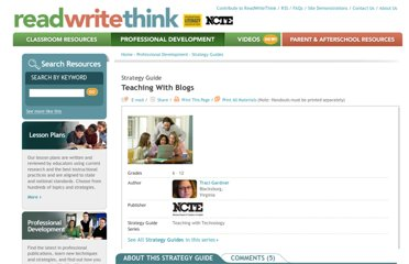 http://www.readwritethink.org/professional-development/strategy-guides/teaching-with-blogs-30108.html