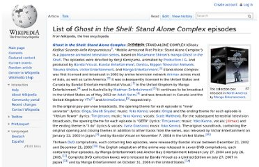http://en.wikipedia.org/wiki/List_of_Ghost_in_the_Shell:_Stand_Alone_Complex_episodes