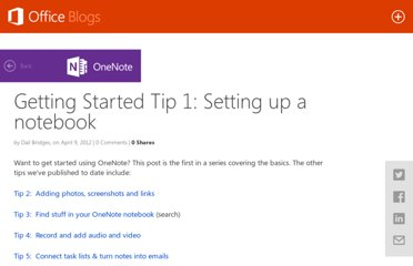 http://blogs.office.com/b/microsoft-onenote/archive/2012/04/09/getting-started-with-onenote.aspx