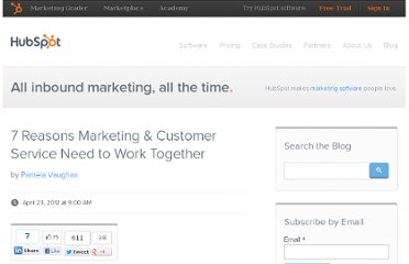 http://blog.hubspot.com/blog/tabid/6307/bid/32478/7-Reasons-Marketing-Customer-Service-Need-to-Work-Together.aspx