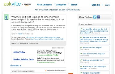 http://askville.amazon.com/Islam-longer-Africa%27s-main-religion-centuries-today/AnswerViewer.do?requestId=65992110