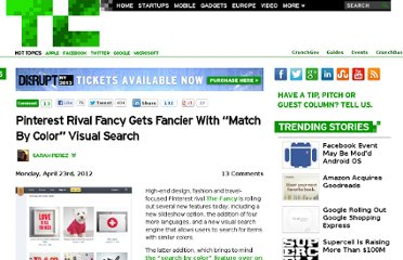http://techcrunch.com/2012/04/23/pinterest-rival-fancy-gets-fancier-with-match-by-color-visual-search/
