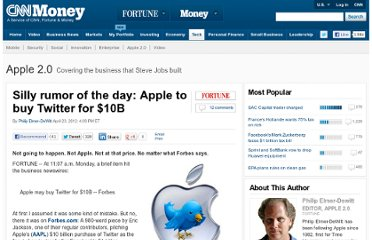 http://tech.fortune.cnn.com/2012/04/23/silly-rumor-of-the-day-apple-to-buy-twitter-for-10b/
