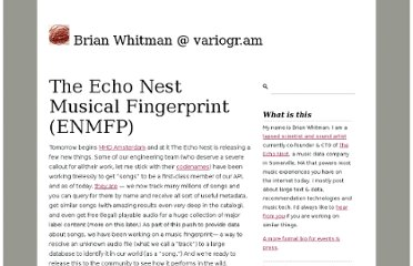http://notes.variogr.am/post/544559482/the-echo-nest-musical-fingerprint-enmfp