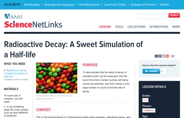 http://sciencenetlinks.com/lessons/radioactive-decay-a-sweet-simulation-of-a-half-life/