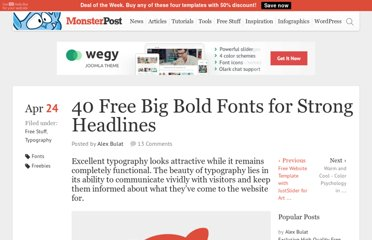 http://blog.templatemonster.com/2012/04/24/40-free-fonts-big-bold-headlines/