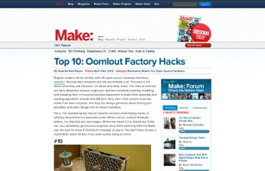 http://blog.makezine.com/2012/04/24/top-10-oomlout-factory-hacks/