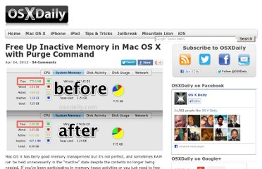 http://osxdaily.com/2012/04/24/free-up-inactive-memory-in-mac-os-x-with-purge-command/