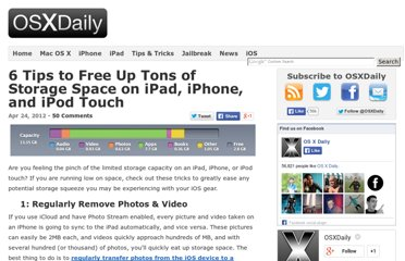 http://osxdaily.com/2012/04/24/6-tips-free-up-storage-space-ipad-iphone-ipod-touch/
