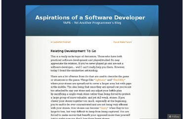 http://developeraspirations.wordpress.com/2010/05/14/relating-development-to-go/