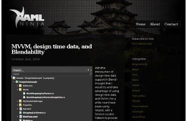 http://blogs.xamlninja.com/silverlight/mvvm-design-time-data-and-blendability