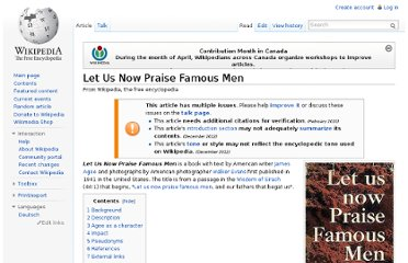 http://en.wikipedia.org/wiki/Let_Us_Now_Praise_Famous_Men