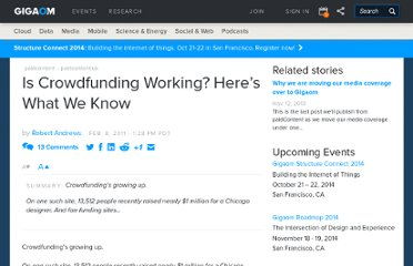 http://paidcontent.org/2011/02/08/419-is-crowdfunding-working-heres-what-we-know/