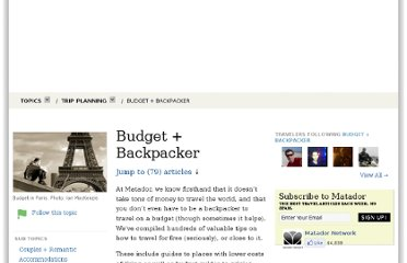 http://matadornetwork.com/topics/trip-planning/budget-backpacker/#recent-popular
