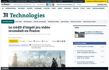 http://www.lemonde.fr/technologies/article/2012/04/25/le-credit-d-impot-jeu-video-reconduit-en-france_1691034_651865.html