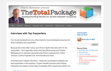 http://www.makepeacetotalpackage.com/copywriter-tools/interviews-with-top-copywriters/