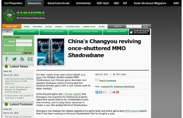 http://www.gamasutra.com/view/news/169064/Chinas_Changyou_reviving_onceshuttered_MMO_Shadowbane.php