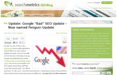 http://blog.searchmetrics.com/us/2012/04/25/google-bad-seo-update-a-first-earthquake-on-the-short-head/
