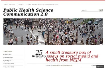 http://publichealth2point0.com/2012/04/25/a-small-treasure-box-of-essays-on-social-media-and-health-from-nejm/
