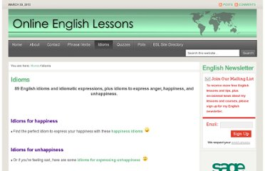 http://online-english-lessons.eu/wordpress/idioms-and-idiomatic-expressions/