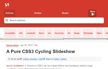 http://coding.smashingmagazine.com/2012/04/25/pure-css3-cycling-slideshow/