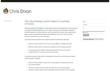 http://cdixon.org/2012/04/25/the-risk-of-being-a-small-investor-in-a-private-company/