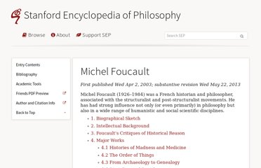 http://plato.stanford.edu/entries/foucault/