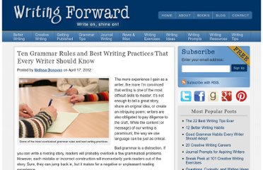 http://www.writingforward.com/grammar/grammar-rules/ten-grammar-rules-and-best-writing-practices-that-every-writer-should-know