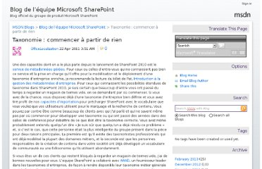http://blogs.msdn.com/b/sharepoint_fr/archive/2011/04/22/taxonomy-the-challenge-of-starting-from-scratch.aspx