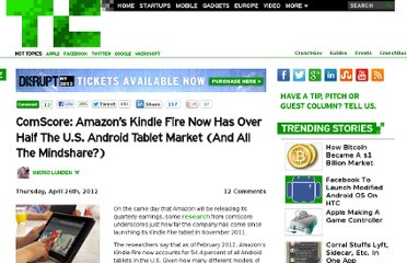 http://techcrunch.com/2012/04/26/comscore-amazons-kindle-fire-now-has-over-half-the-u-s-android-tablet-market-and-all-the-mindshare/